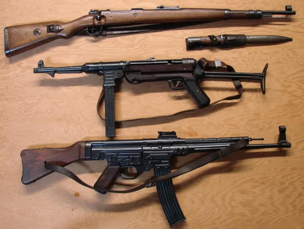 Group photos of German WWII guns-MP44, MP40, P.08s, K.98 ... German Ww2 Weapons